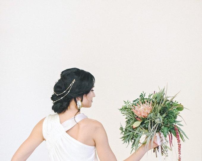 Pearl Hair Chain, Pearl Headband, Pearl Chain, Bridal Headband, Pearl Hair Accessories, Custom Chain: Silver, Gold, Rose Gold, Style 304