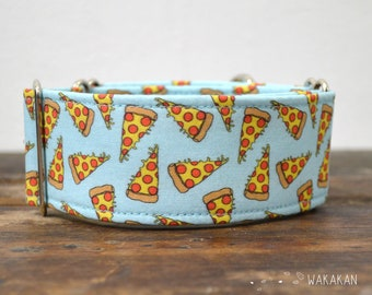 Martingale dog collar model Pizza. Adjustable and handmade with 100% cotton fabric. Wakakan
