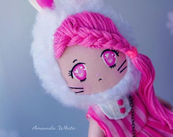 "Pink Rabbit Clothdoll ""YUMI"" totally handmade"