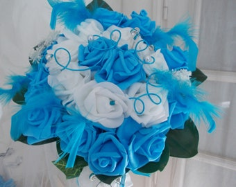 turquoise and white bridal bouquet artificial wedding