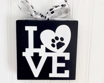 Dog Mom Gift - Gift for Dog Lover - Dog Love  Sign - Pawprint Sign - Pet Lover Gift - Dog Art - Canine Lover Gift - Pawprint Wood Sign