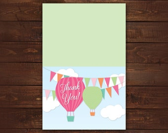 Hot Air Balloon Thank you Cards, Folded Thank you Cards, Baby Shower thank you cards, Set of 10 with envelopes, any color