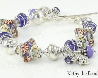 Lampwork Bracelet - Ocean Treasures - Lampwork Sterling Silver Bead Bracelet - KTBL
