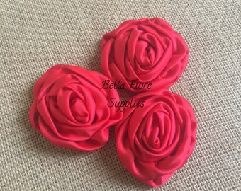 Red Satin Rolled Rosette Flowers, 3 inch, DIY headband, wholesale satin rosette flowers, satin flower embellishment