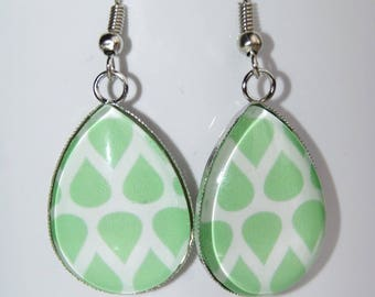 Scandinavian hanging cabochon drops earrings