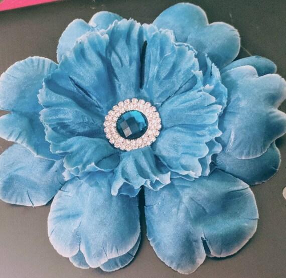 Blue Rhinestone Flower Hair Clip