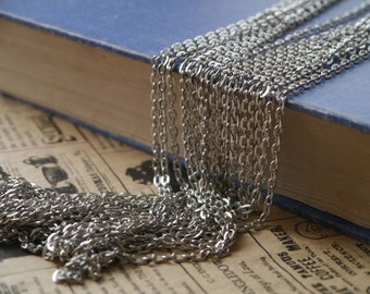 32 feet Antique Silver Dull Silver Open Flat Link Chain 3 x 4.5mm (SCN3402)