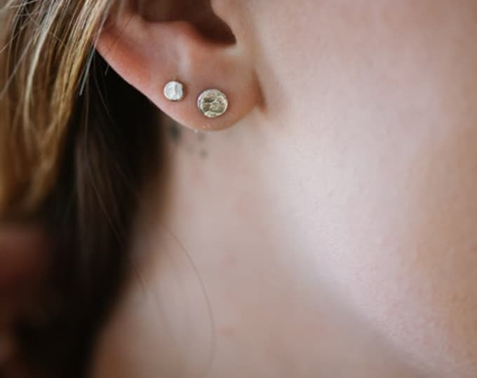 Moon Studs || Made to Order Recycled Silver Stud Earrings Sterling Silver