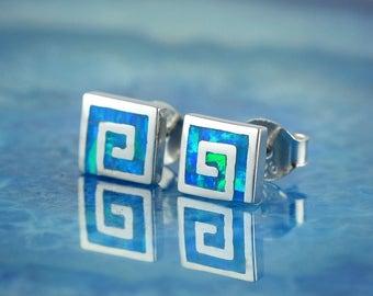 greek key blue opal stud earrings, greek key earrings, opal stud earrings, blue opal earrings, greek earrings, opal studs, greek key studs