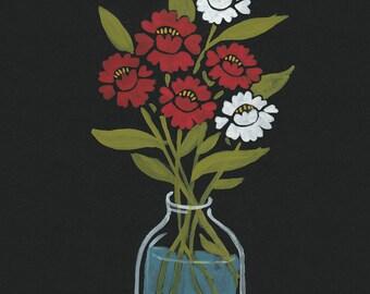 Six Camellias - Original Gouache Painting