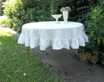 Handmade Round Tablecloth Choose Your Fabric and Size Linen Cotton Burlap Ruffled Table Cloth Wedding Decorations Table Decor Custom Sizes