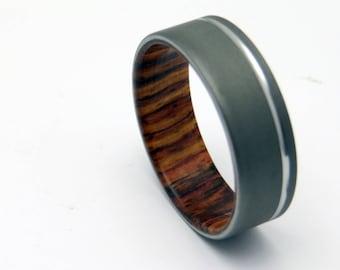 Handmade Titanium and Wood wedding band,  waterproof Honduran Rosewood with blasted titanium shell