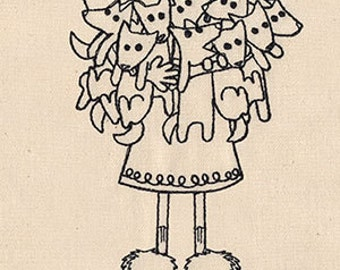 Crazy Dog Lady Embroidered Flour Sack Hand/Dish Towel