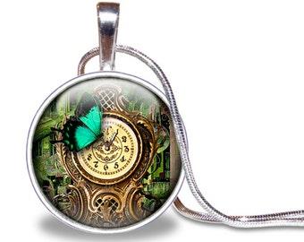 Steampunk Butterfly Necklace, Butterfly Pendant, Brown and Green, Clock Necklace, Steampunk Necklace, Glass Tile Pendant, Butterfly Gift