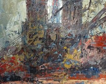 Vintage Paris Oil Painting, Le Rideau Oil Painting, Notre Dame de Paris, Vintage Art