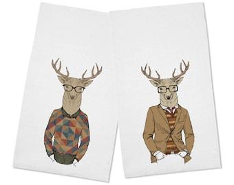 Funny Set of 2 Hipster Deer Kitchen Tea Towels