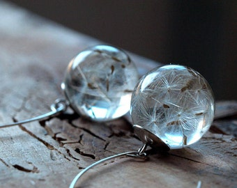 Real dandelion seeds resin earrings,Resin ball earrings,Dandelion earrings, dandelion jewelry,Make a wish jewelry,real flower earrings,