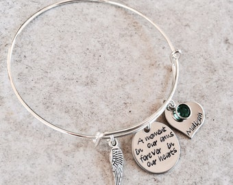 A moment in our arms forever in our hearts remembrance jewelry memorial bracelet loss of child loss of baby memorial jewelry angel wing name