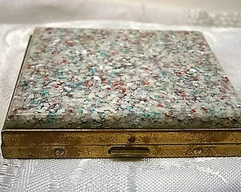 Vintage Compact / Confetti Multi-Color Mirrored Compact / Powder Compact / Lucite Cosmetic Case