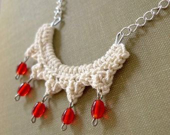 ivory crescent Sun necklace - bib necklace - crochet jewelry, red dangle glass beads necklace, back drop necklace