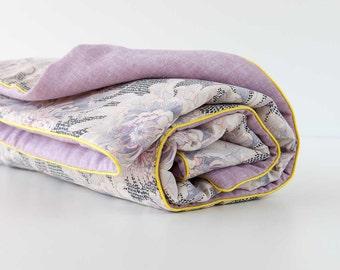 "Origami Baby Blanket - Crane Silhouette - Mauve Linen - Liberty Print Peonies - Yellow Piping - 39"" x 26"""