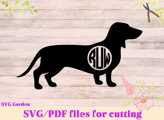 Download Dachshund SVG file Circle Monogram SVG frame for Cricut and