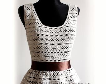 Crochet pattern . Peplum Blouse .No 240
