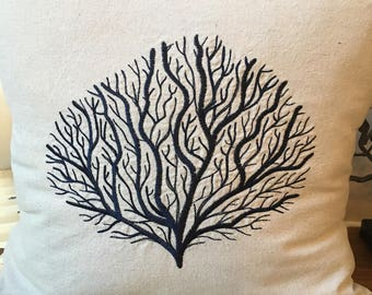 Embroidered Coral Pillow on Canvas Fabric