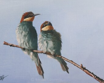 Bird nests on a branch oil painting by Bernard Guédon