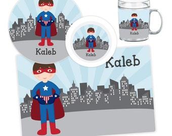 Superhero Boy Plate, Bowl, Mug or Placemat - Personalized Plate for Kids - Custom Kids Melamine Tableware - Kids Plate Bowl Set