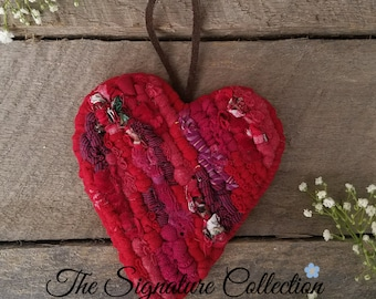 A Piece of My Heart - Home Decor Accents - Red Heart - Locker Hooking - Fabric Heart Ornament