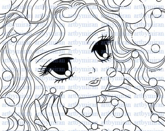 Digital Stamp-Bubbly Betty(#54), Digi Stamp, Coloring page, Printable Line art for Card and Craft Supply, Art by Mi Ran Jung