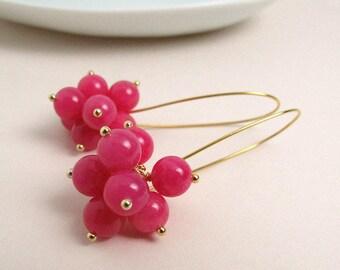 Bright pink jade cluster earrings, handmade, natural gemstone earrings, long earrings, gold plated 925 sterling silver