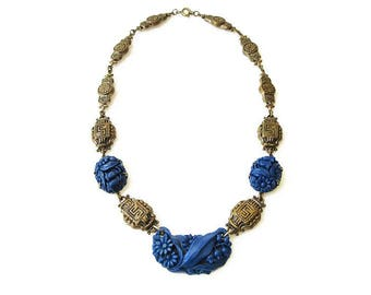 Art Deco Lapis Glass Necklace - Molded Glass, Chinoserie Chinese, Gold Tone Brass, Choker Necklace, Art Deco Jewelry