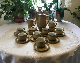 Denby Langley Ode Stoneware 21 Piece Coffee Service Made in England 1970s FREE SHIPPING