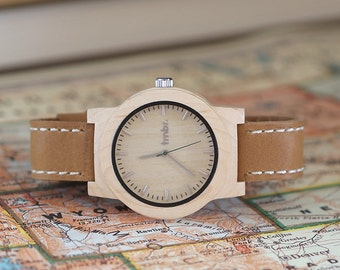 Personalized Wood Watch, Custom Engraved Wood Watch, Mens Watch Personalized Wood - CST-KNTY-L