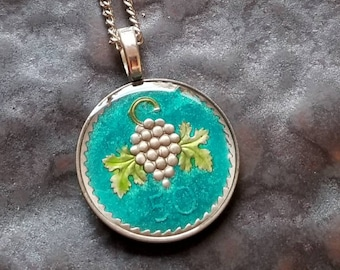 Cyprus - Grape Bunch Coin Pendant - Hand Painted