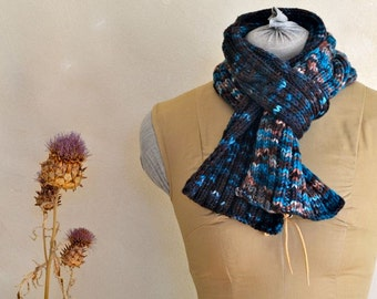 Hand Knit Scarf Midnight Blue Hinting at Dawn Original Design Knitwear Hand Dyed Merino Wool