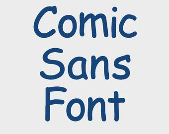 """Comic Sans Embroidery Font in 6 Sizes (0.25"""", 0.5"""", 0.75"""", 1"""", 1.5"""" & 2"""") upper and lower case + numbers - INSTANT DOWNLOAD -  Item #1086"""