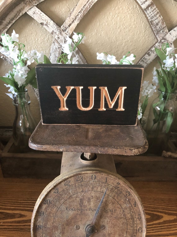 Wood Engraved Yum Sign
