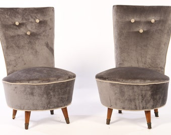 Pair Of Mid Century Modernist Slipper Chairs