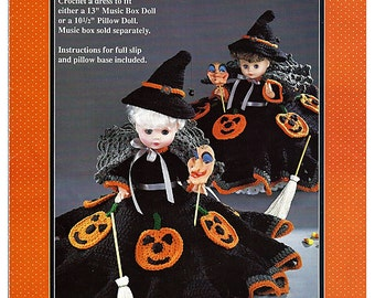 Bewitching Halloween  Pillow Doll, Music Box Doll, or Bed Doll Crochet Pattern Fibre Craft FCM229