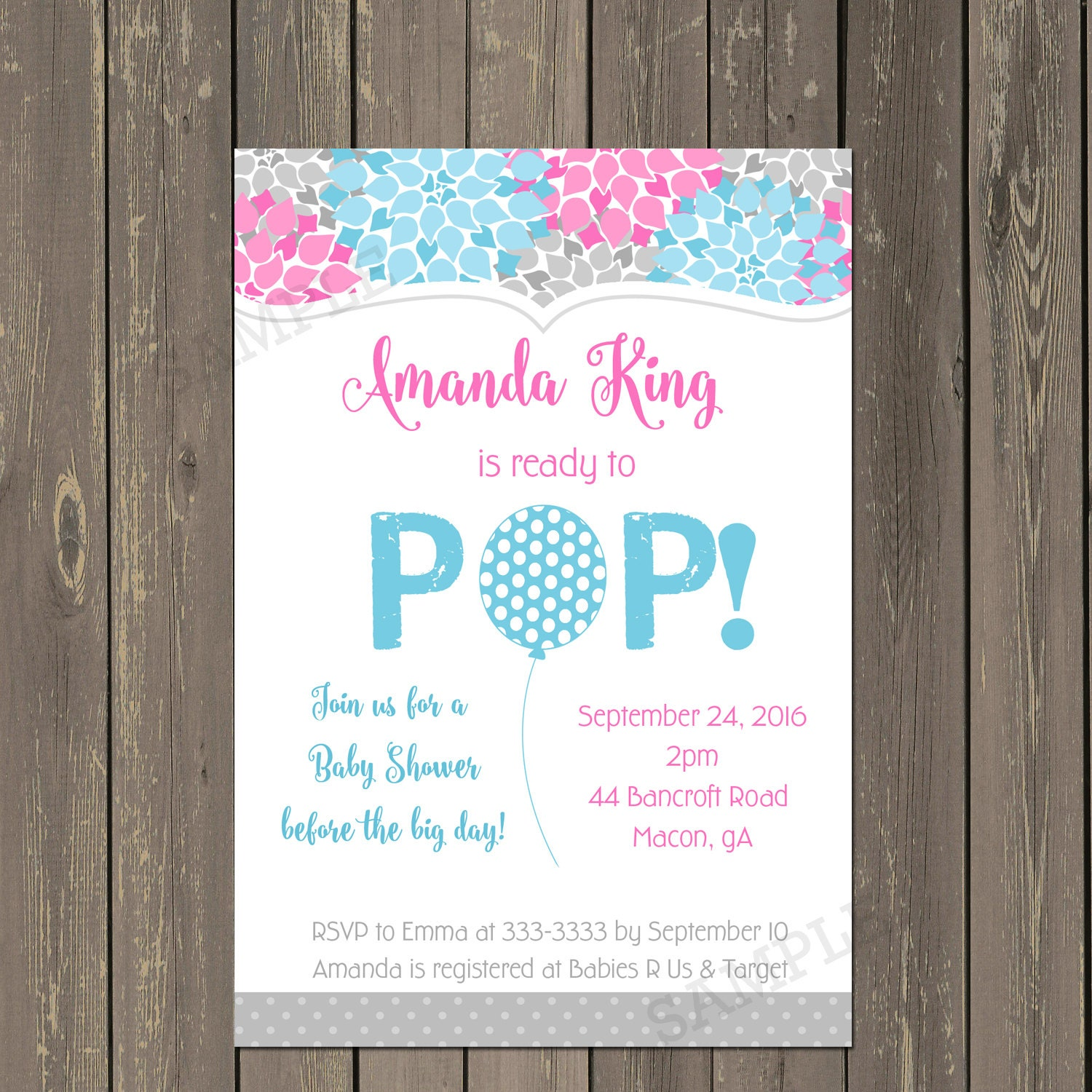 Ready to Pop Baby Shower Invitation Gender neutral baby