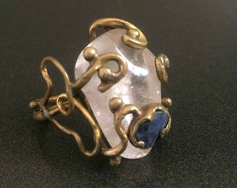 Modern Brutalist Ring Rose Quartz with Scrolling Brass Metalwork Size 5 With Blue Stone