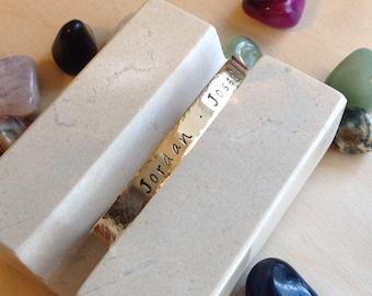Hand Stamped Bracelet Textured - Custom Hand Stamped Bracelet - Personalized Bracelet Cuff - Personalized Stamped Bracelet
