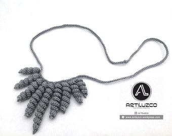 Gray Rulino, Crochet necklace, Necklace in natural fibers, Handmade knitted necklace