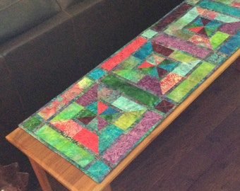 Quilted Batik Table Runner, Rich Dramatic Decor, Tabletop Rug, Stained Glass Look