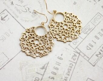 Large Gold Lace Earrings, Big Gold Filigree Earrings, Indian Boho Wedding, Large Moroccan Earrings, Bridesmaid Gift, Modern Large Filigree