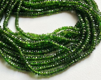 Chrome Diopside Beads, Green Tourmaline, Green Diopside Faceted Rondelle, Chrome Diposide Necklace, 3mm - 3.5mm Beads, 13 Inch Strand