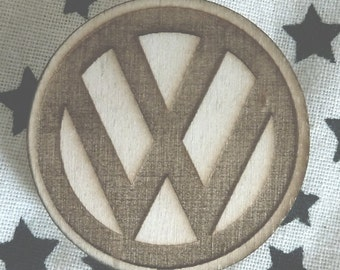 VW Brooch Pin Lasercut from Wood